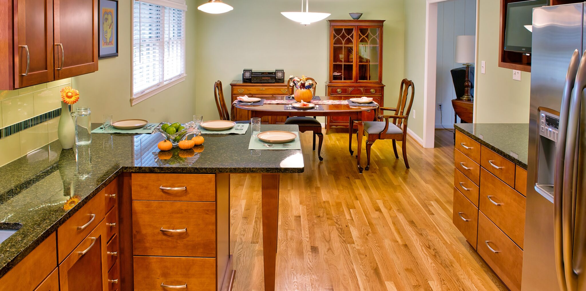 Warm Wood Flooring Light Wood Floors Give This Kitchen A