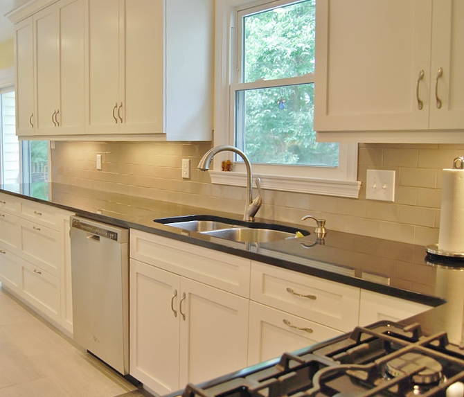 Transitional Kitchens With White Cabinets: Kitchen - Transitional White-Black-Grey